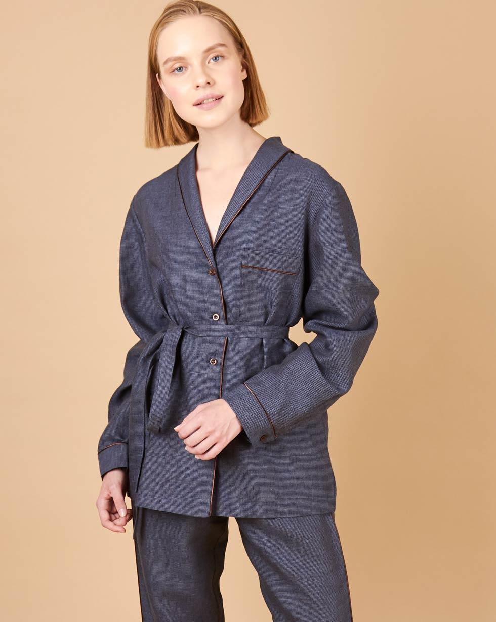 12Storeez Рубашка изо льна (гусиная лапка темно-синий) 12storeez комплект рубашка с шортами изо льна песочный