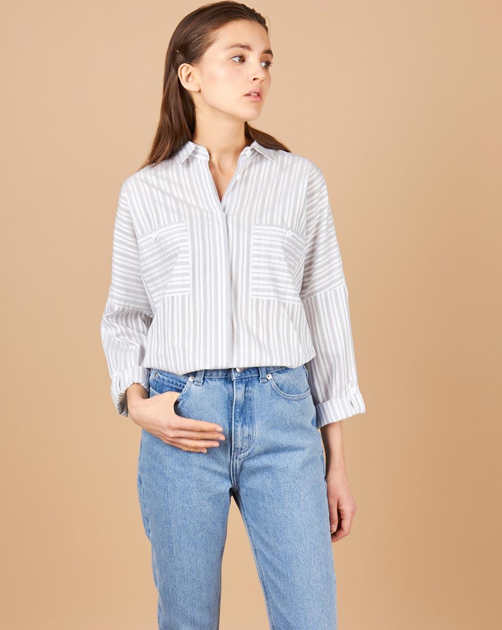 12Storeez Рубашка с карманами (бело-серый) рубашки timberland рубашка
