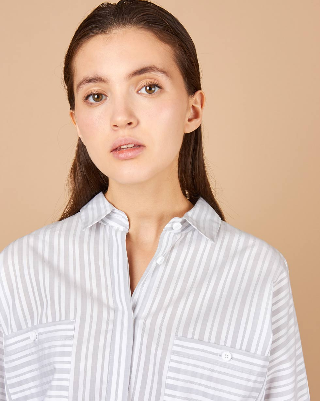 12Storeez Рубашка с карманами (бело-серый)