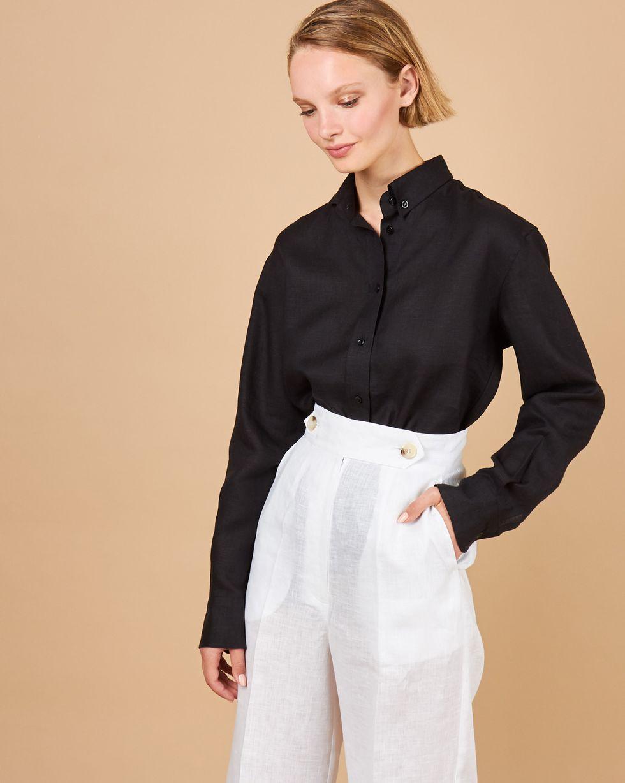 12Storeez Рубашка мужского покроя изо льна (серо-черный) 12storeez костюм топ с длинными рукавами и удлиненные шорты изо льна черный