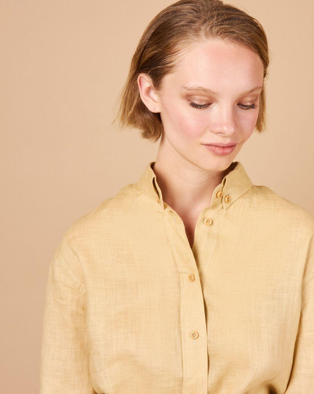 12Storeez Рубашка в мужском стиле изо льна (песочный) 12storeez рубашка в мужском стиле синий