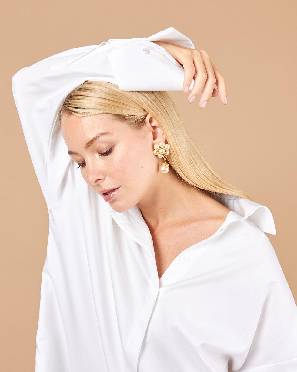12Storeez Рубашка объемная с широкими манжетами (белый) 12storeez рубашка объемная с широкими манжетами белый