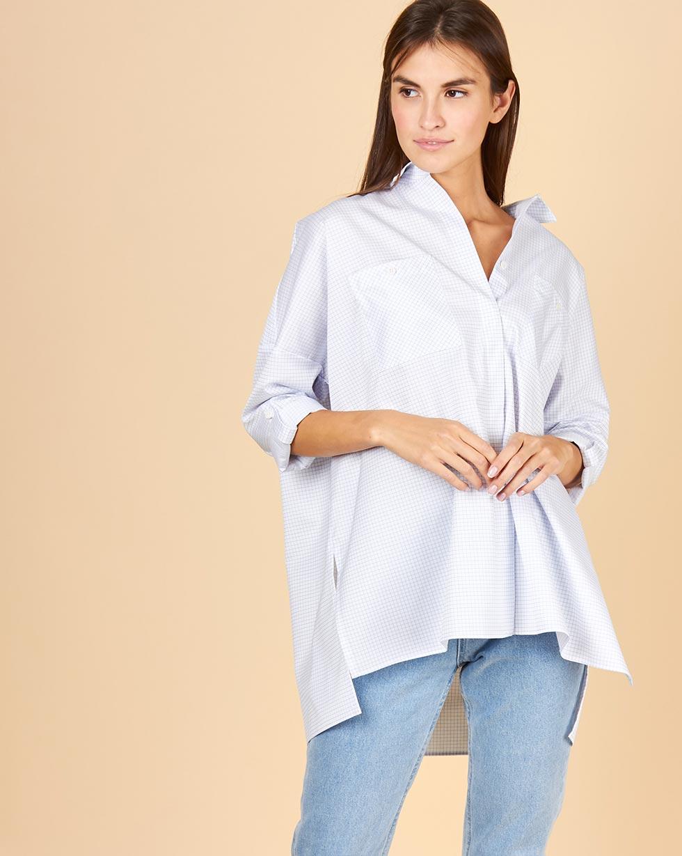 12Storeez Рубашка с карманами в мелкую клетку (бело-синий) 12storeez рубашка в клетку с бантом белый в красную клетку