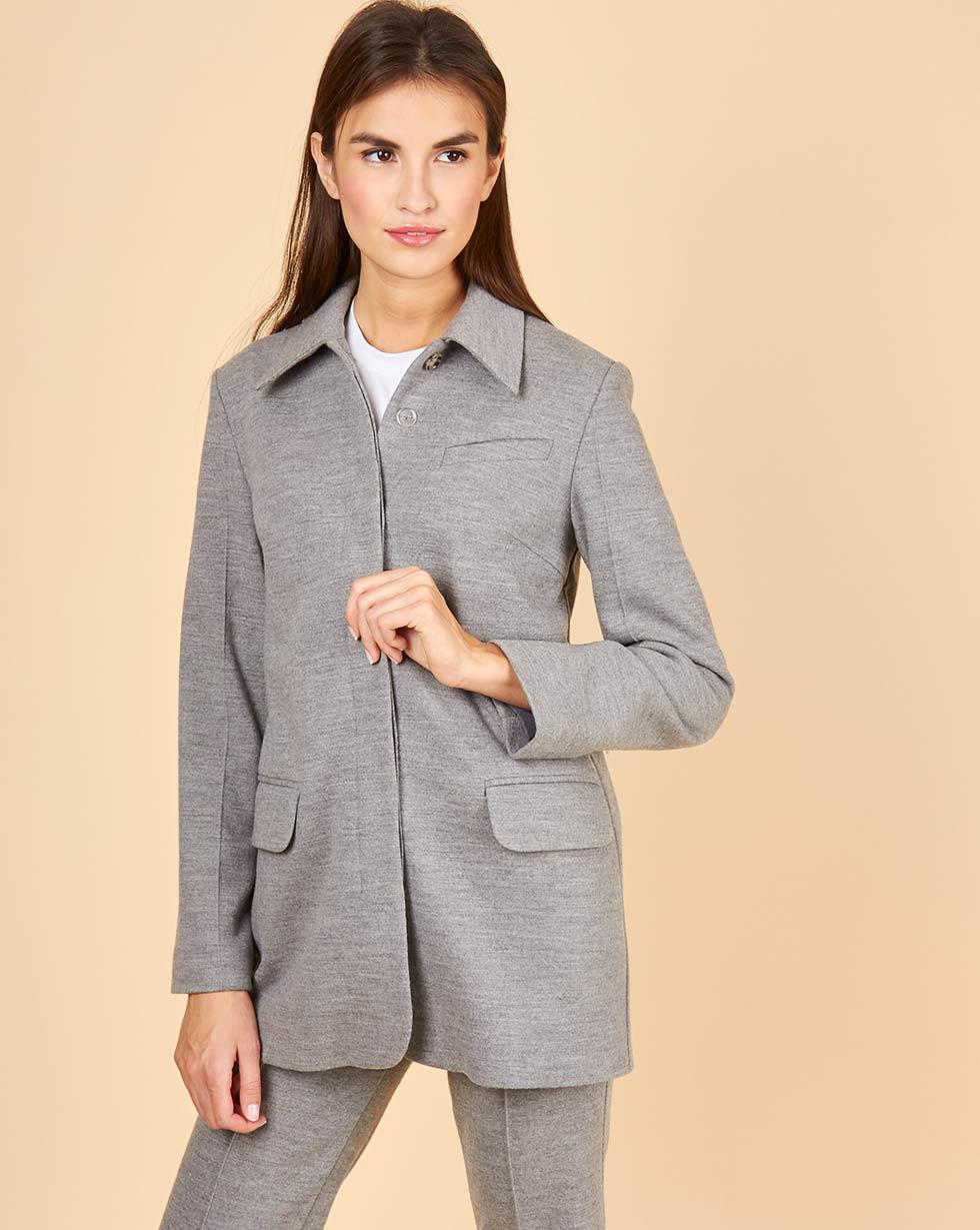 12Storeez Рубашка-пиджак с одной пуговицей (серый)