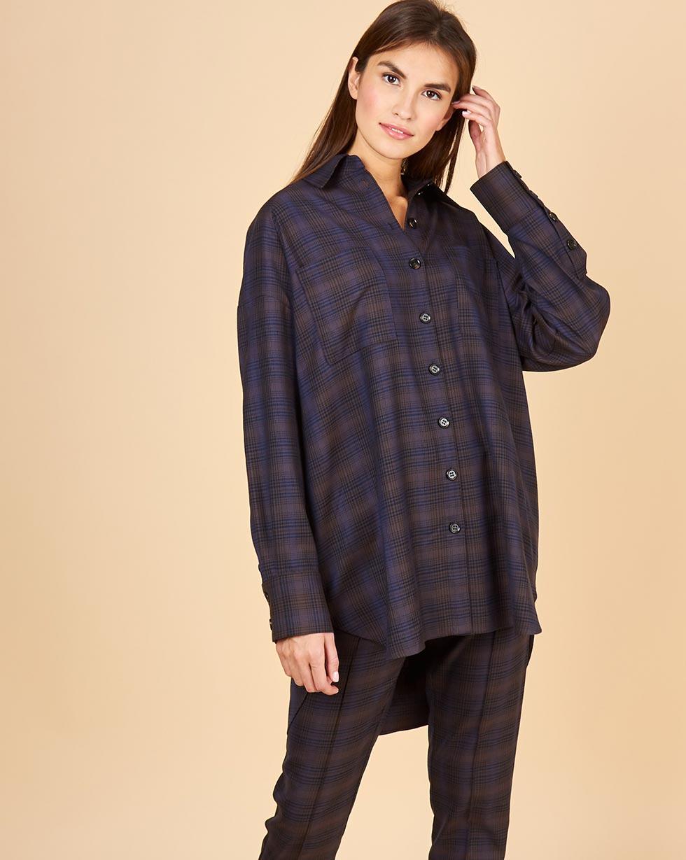 12Storeez Рубашка в клетку с карманами (темно-синий) 12storeez рубашка с карманами в мелкую клетку белый
