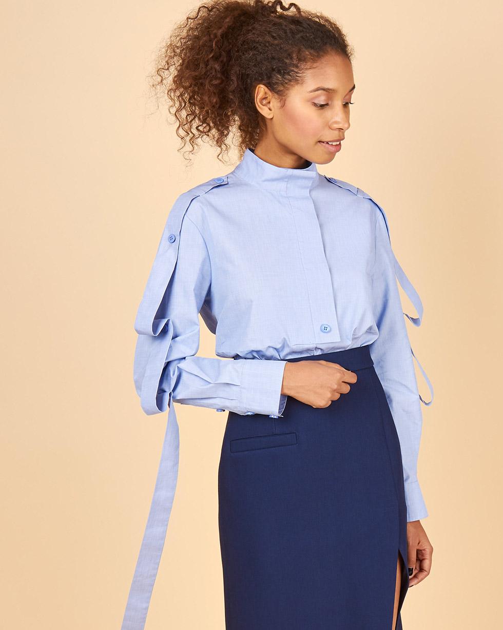 12Storeez Рубашка с лентами на рукавах (голубой)