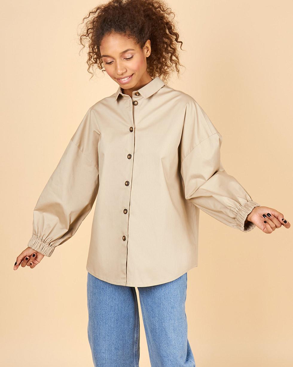 12Storeez Рубашка из плотного хлопка (бежевый)