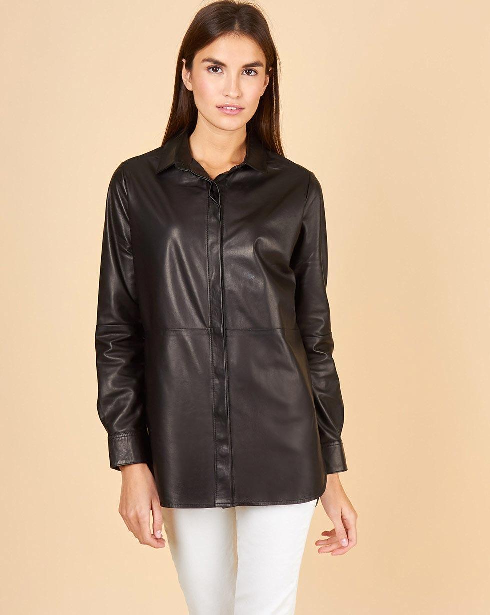 12Storeez Рубашка кожаная прямая (черный) рубашка с длинным рукавом в клетку in extenso