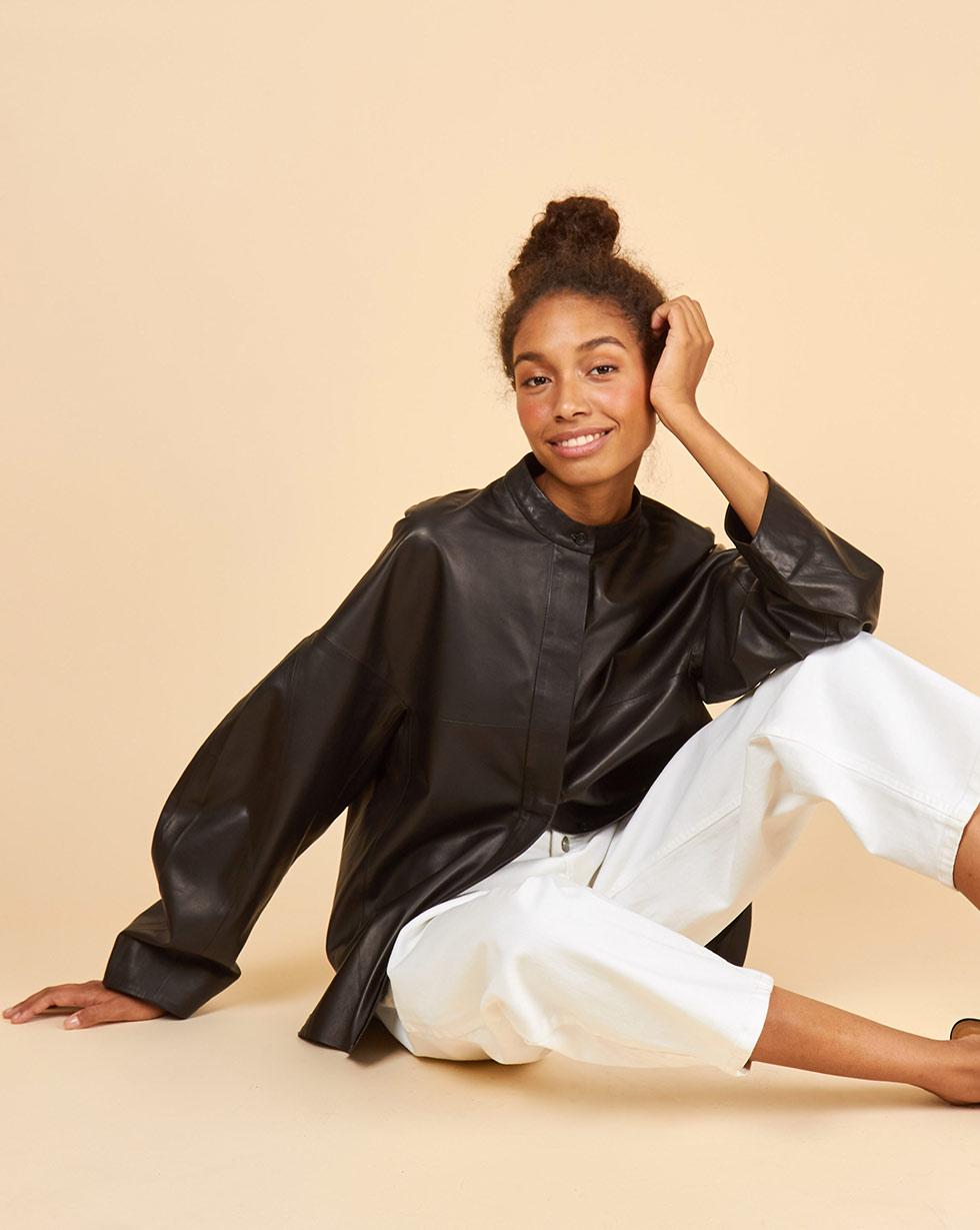 12Storeez Рубашка кожаная (черный) 12storeez рубашка из лакированной кожи черный