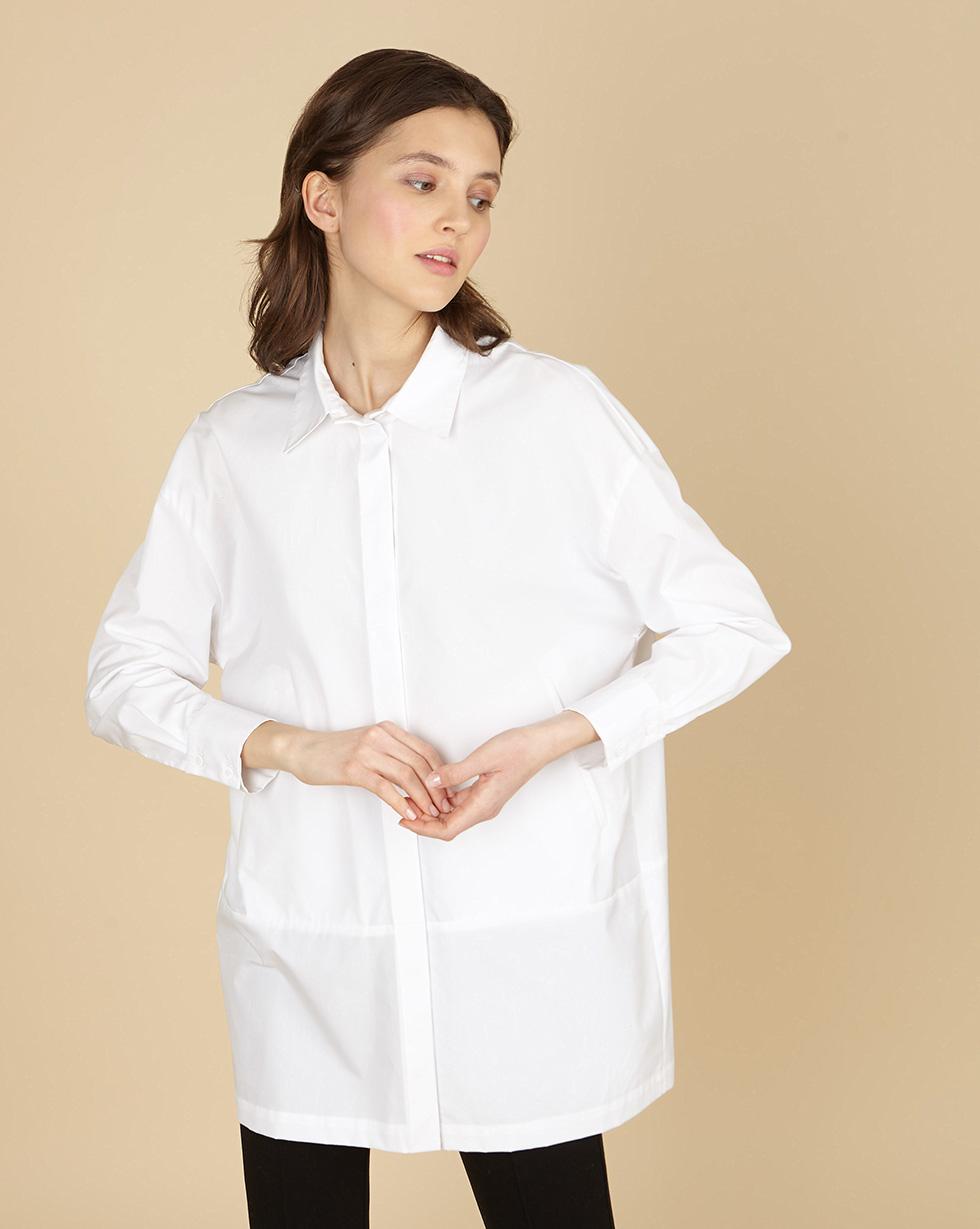12Storeez Объёмная рубашка с карманами (белый)