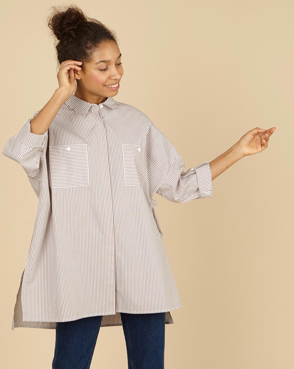 12Storeez Рубашка с карманами в полоску (белый с коричневым)