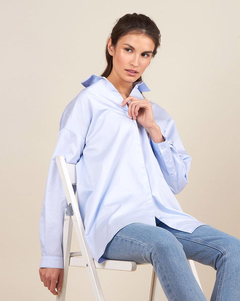 12Storeez Рубашка удлиненная (светло-голубой)