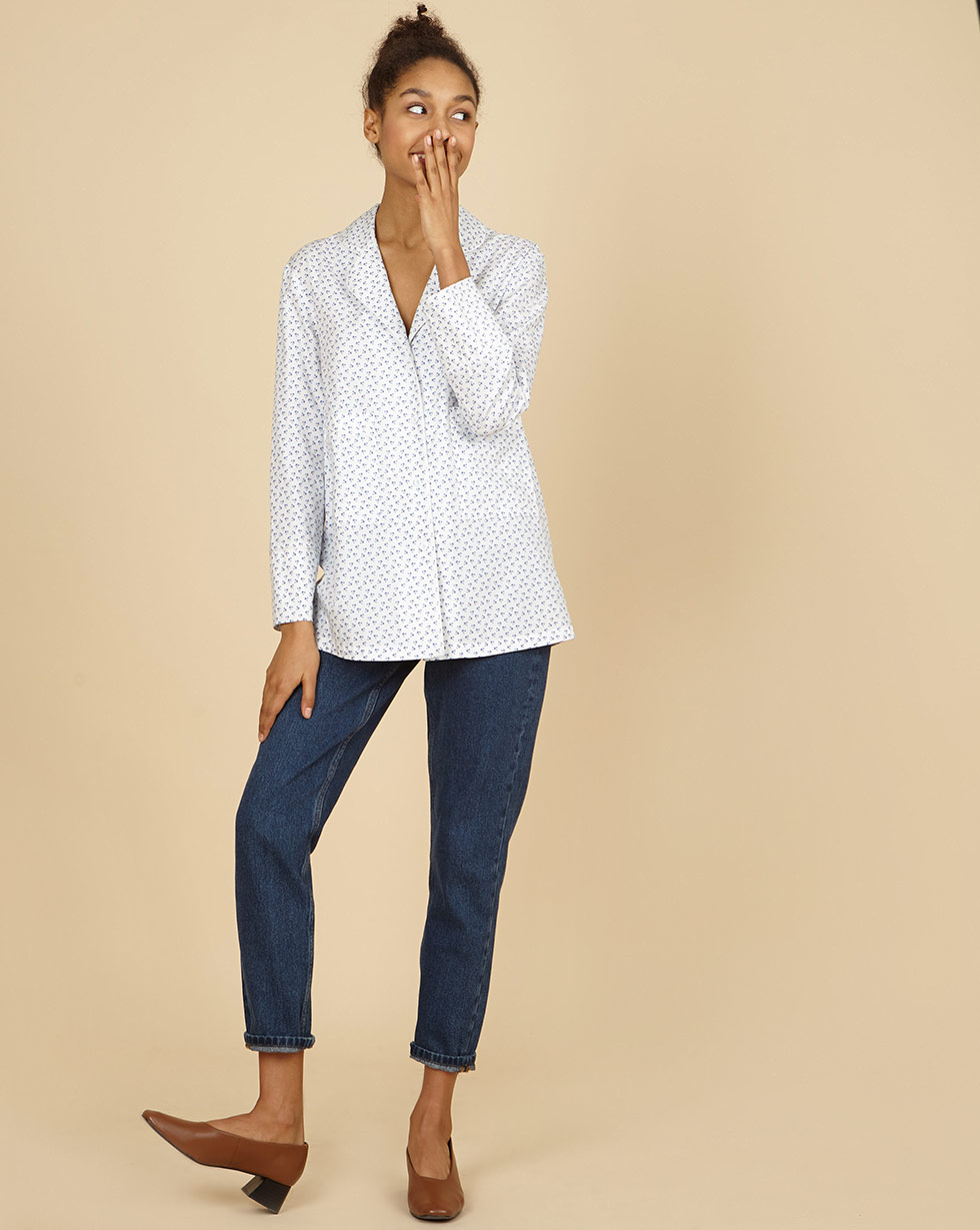12Storeez Рубашка с кантом (белый в цветок) 12storeez рубашка объемная с широкими манжетами белый