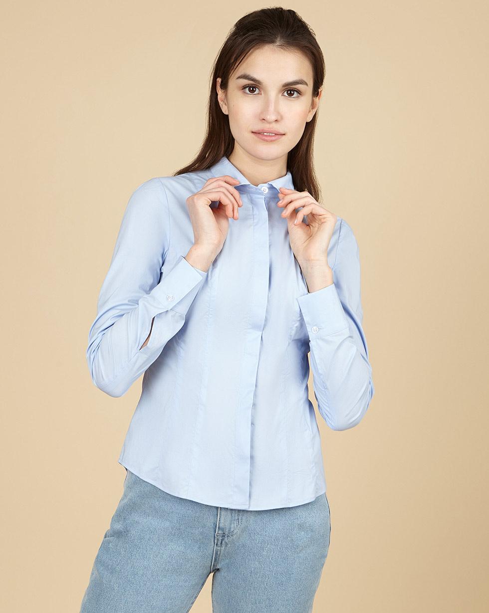 12Storeez Рубашка приталенная (голубой)