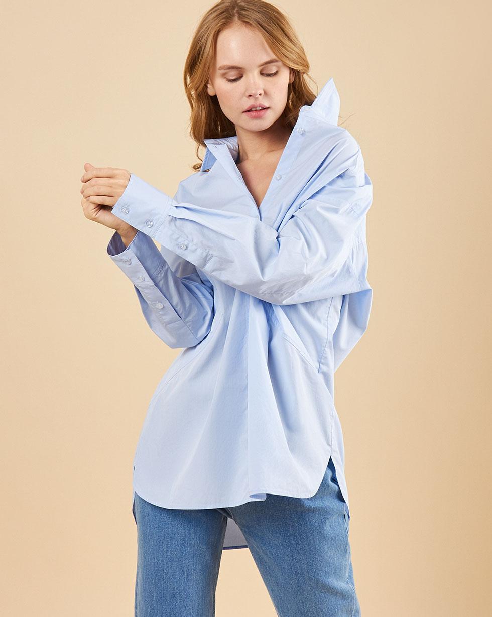 12Storeez Рубашка с треугольными вставками (голубой)