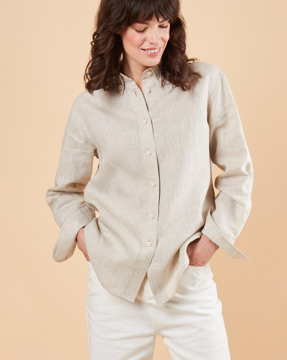 12Storeez Рубашка мужского покроя изо льна 12storeez костюм топ с длинными рукавами и удлиненные шорты изо льна черный