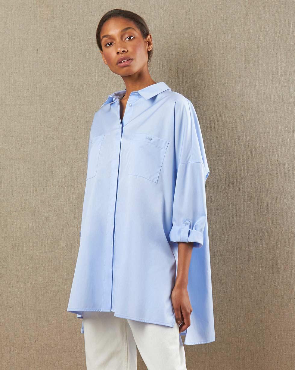 12Storeez Рубашка с карманами (голубой в клетку)