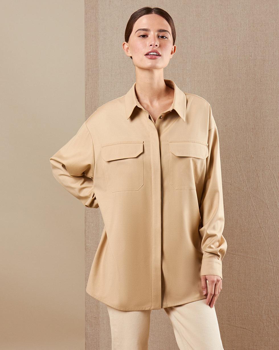 12Storeez Рубашка BL65-026 (Бежевый)