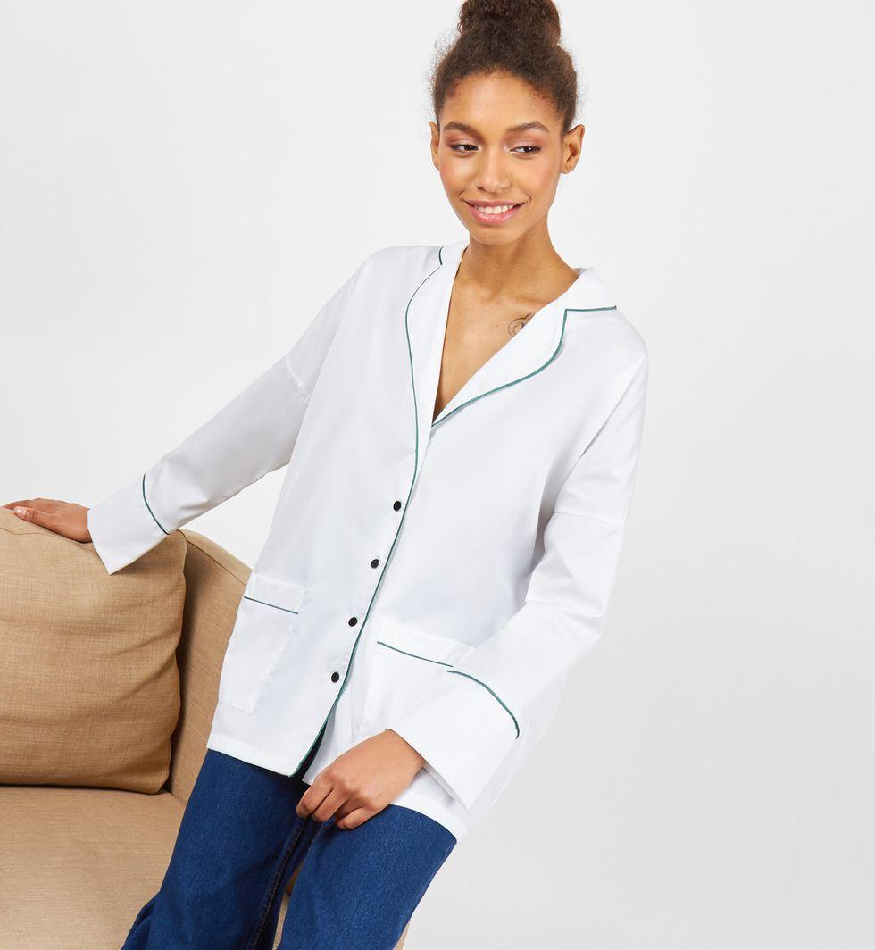 12Storeez Рубашка с кантом (белая / зеленый кант)