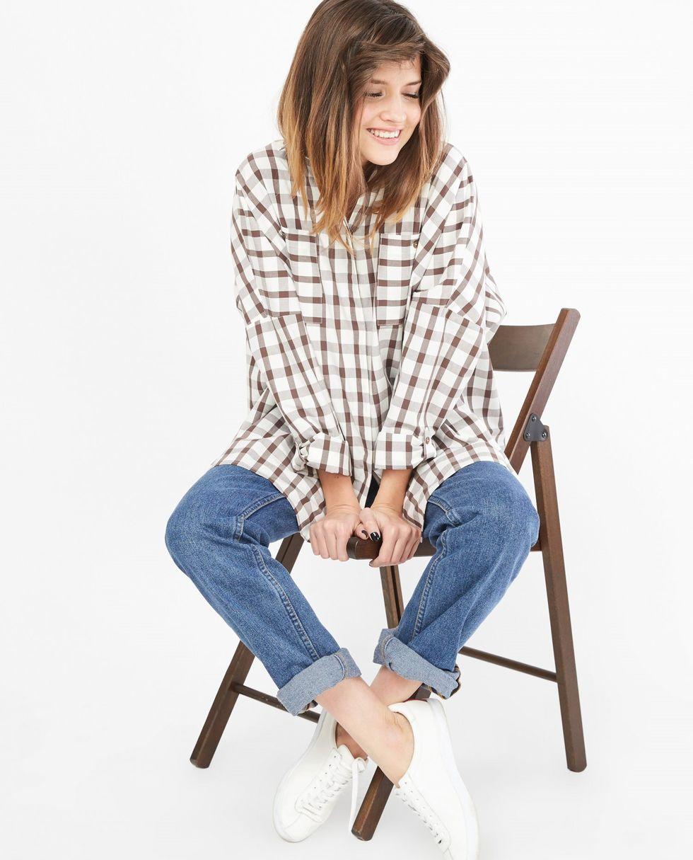 12Storeez Рубашка с карманами в крупную клетку (коричневая) 12storeez рубашка с карманами в мелкую клетку белый