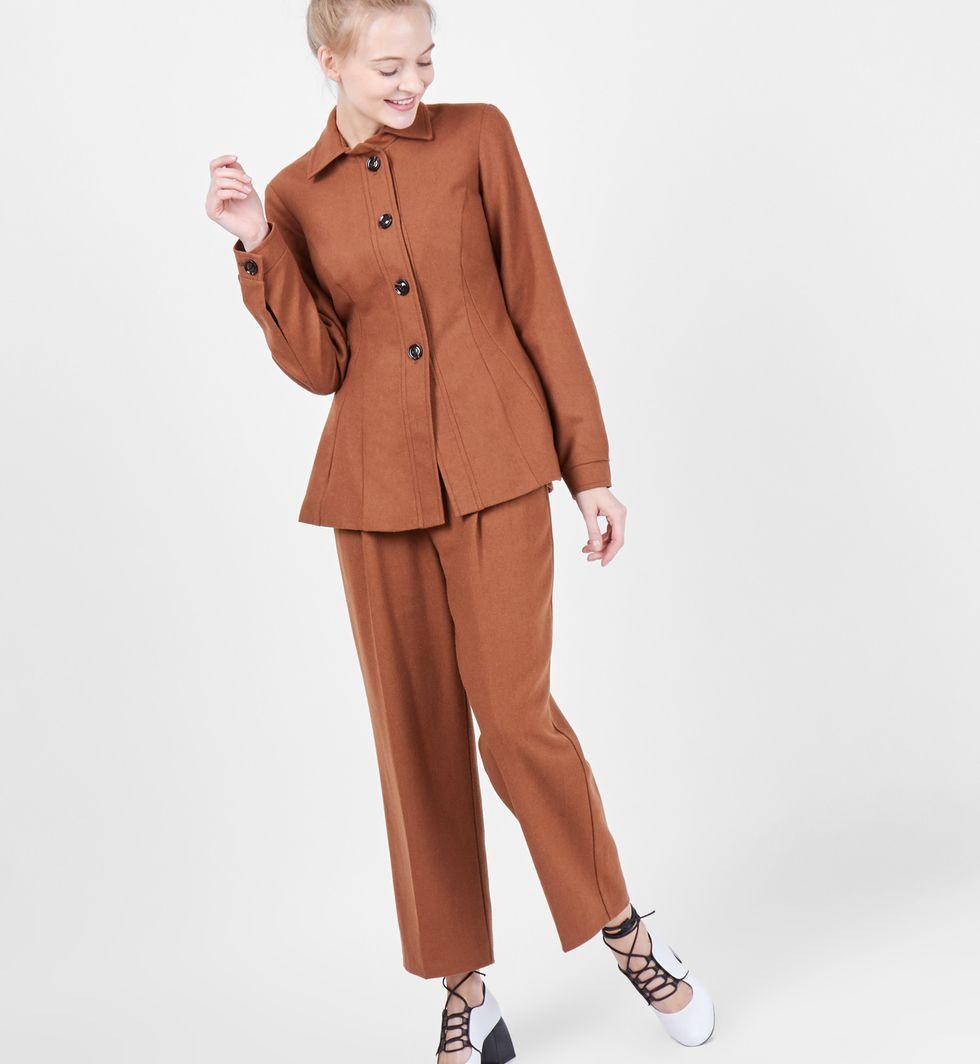 Рубашка из плотной шерсти (коричневая)