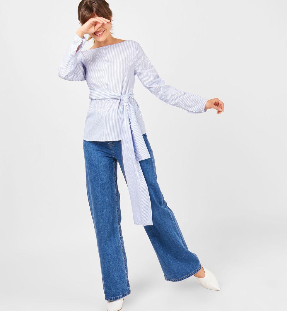 Рубашка в полоску с бантом MРубашки<br><br><br>Артикул: 23008603<br>Размер: M<br>Цвет: Белый<br>Новинка: НЕТ<br>Наименование en: Stripe tie waist shirt