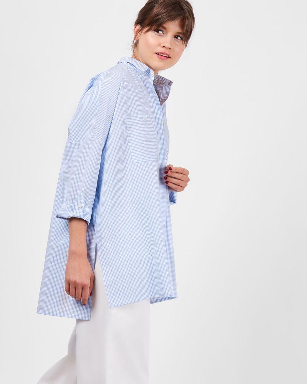 Рубашка с карманами в клетку One sizeрубашки<br><br><br>Артикул: 23008897<br>Размер: One size<br>Цвет: Белый<br>Новинка: ДА<br>Наименование en: Check oversized shirt