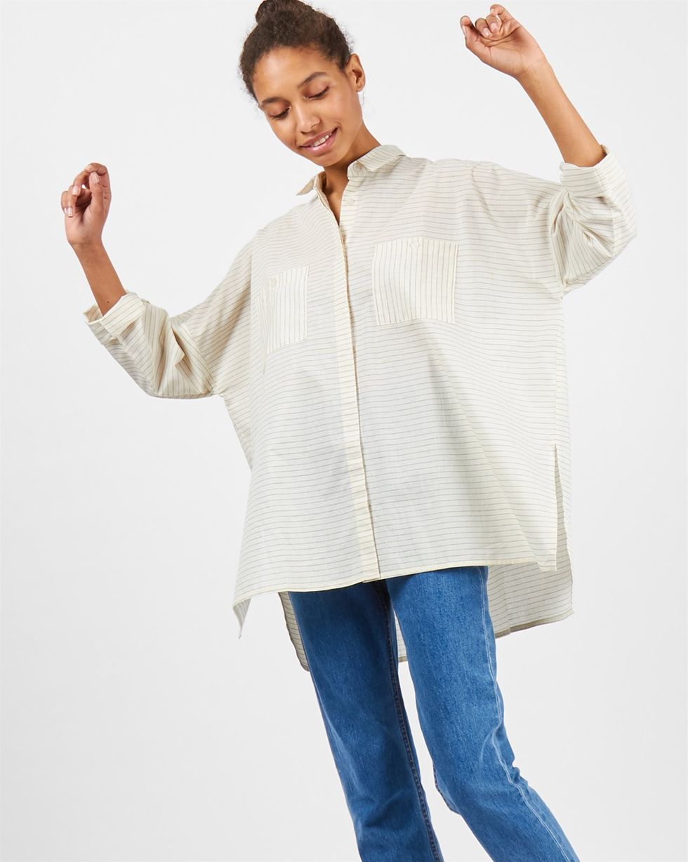 Фото - 12Storeez Рубашка с карманами в полоску (молочный) 12storeez рубашка удлиненная в мелкую полоску
