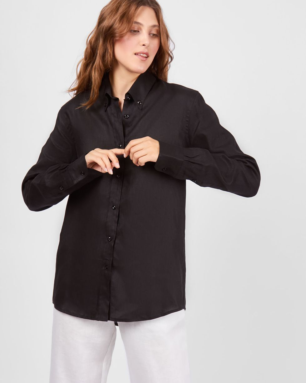 Рубашка в мужском стиле изо льна SРубашки<br><br><br>Артикул: 23009381<br>Размер: S<br>Цвет: Черный<br>Новинка: НЕТ<br>Наименование en: Linen boyfriend shirt
