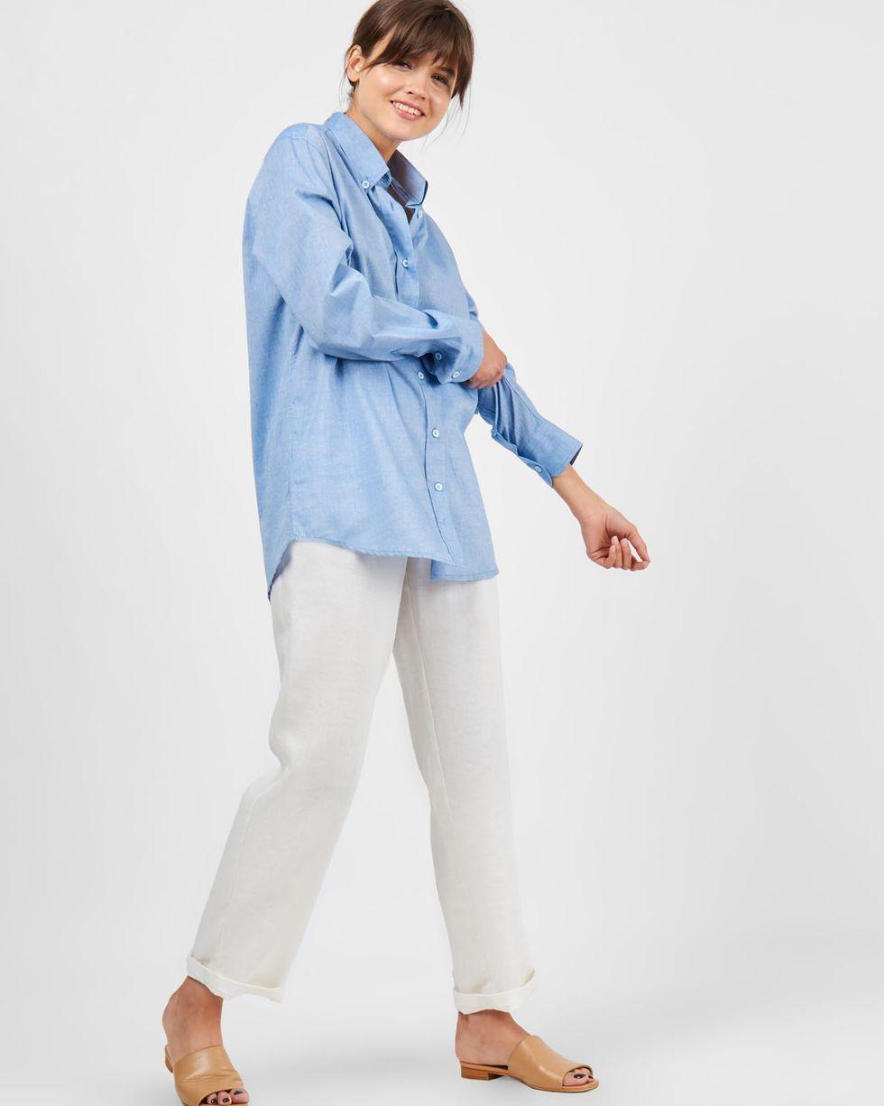 12Storeez Рубашка в мужском стиле из хлопка (голубой) blog