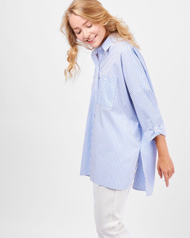 Рубашка с карманами в полоску One sizeРубашки<br><br><br>Артикул: 23009978<br>Размер: One size<br>Цвет: Белый<br>Новинка: ДА<br>Наименование en: Stripe oversized pocket shirt