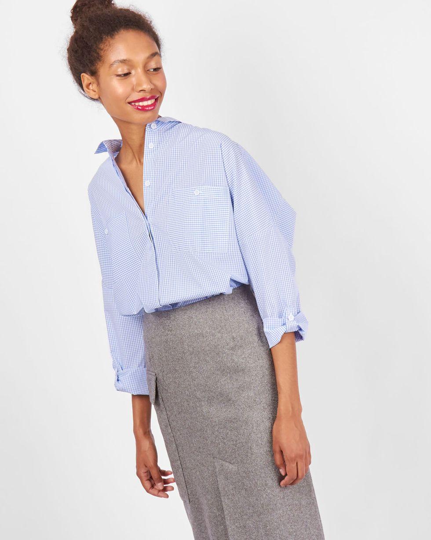Рубашка с карманами в клетку One sizeРубашки<br><br><br>Артикул: 23009980<br>Размер: One size<br>Цвет: Бело-голубой<br>Новинка: НЕТ<br>Наименование en: Check oversized shirt