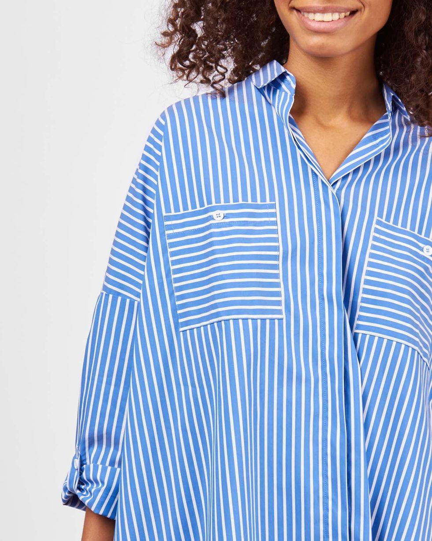 Рубашка с карманами в широкую полоску One sizeРубашки<br><br><br>Артикул: 23009981<br>Размер: One size<br>Цвет: Синий<br>Новинка: НЕТ<br>Наименование en: Wide stripe pocket shirt