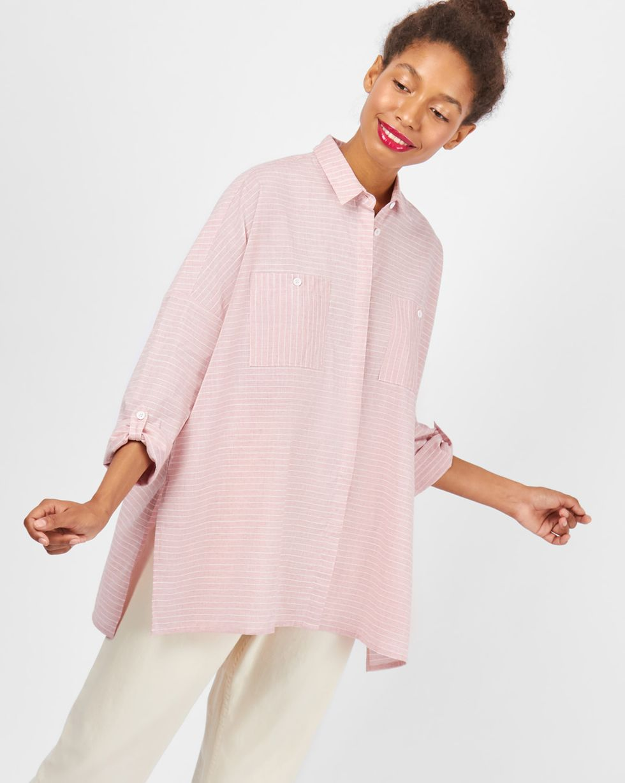 Рубашка с карманами в широкую полоску One sizeРубашки<br><br><br>Артикул: 23009983<br>Размер: One size<br>Цвет: Розовый<br>Новинка: НЕТ<br>Наименование en: Wide stripe pocket shirt