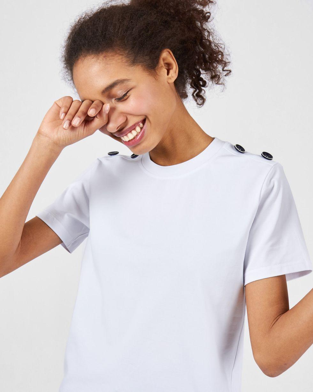 Футболка с пуговицами на плечах LФутболки и толстовки<br><br><br>Артикул: 82813101<br>Размер: L<br>Цвет: Белый<br>Новинка: НЕТ<br>Наименование en: Button detail t-shirt