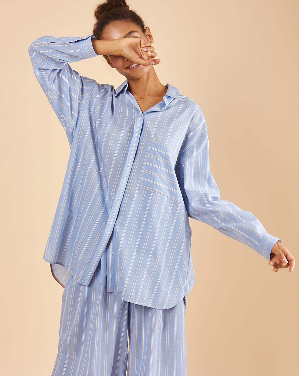 12Storeez Блуза свободная (полоска голубая) 12storeez блуза удлиненная с круглым воротником коричневый