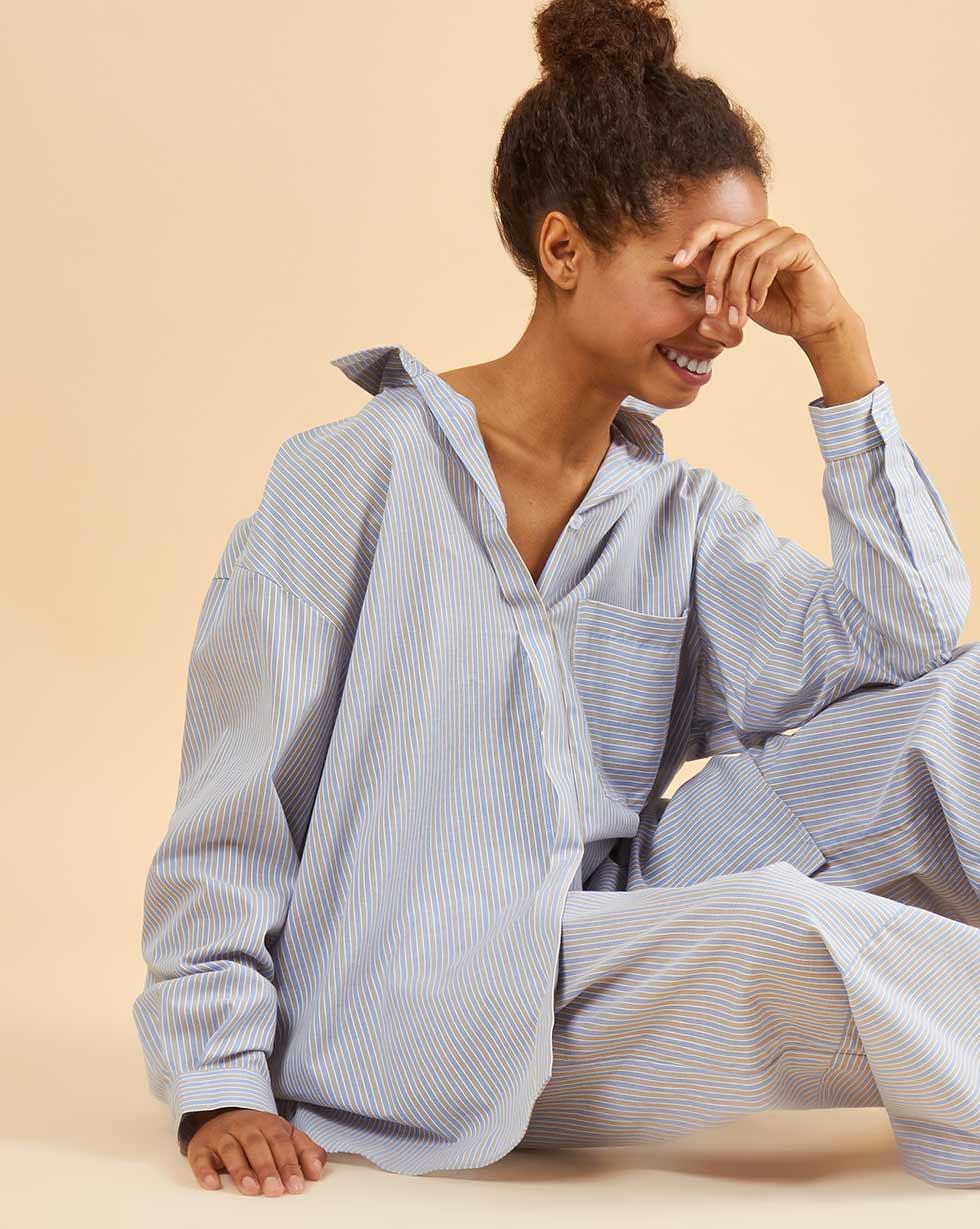 12Storeez Блуза свободная (серо-голубая полоска) 12storeez блуза удлиненная с круглым воротником коричневый