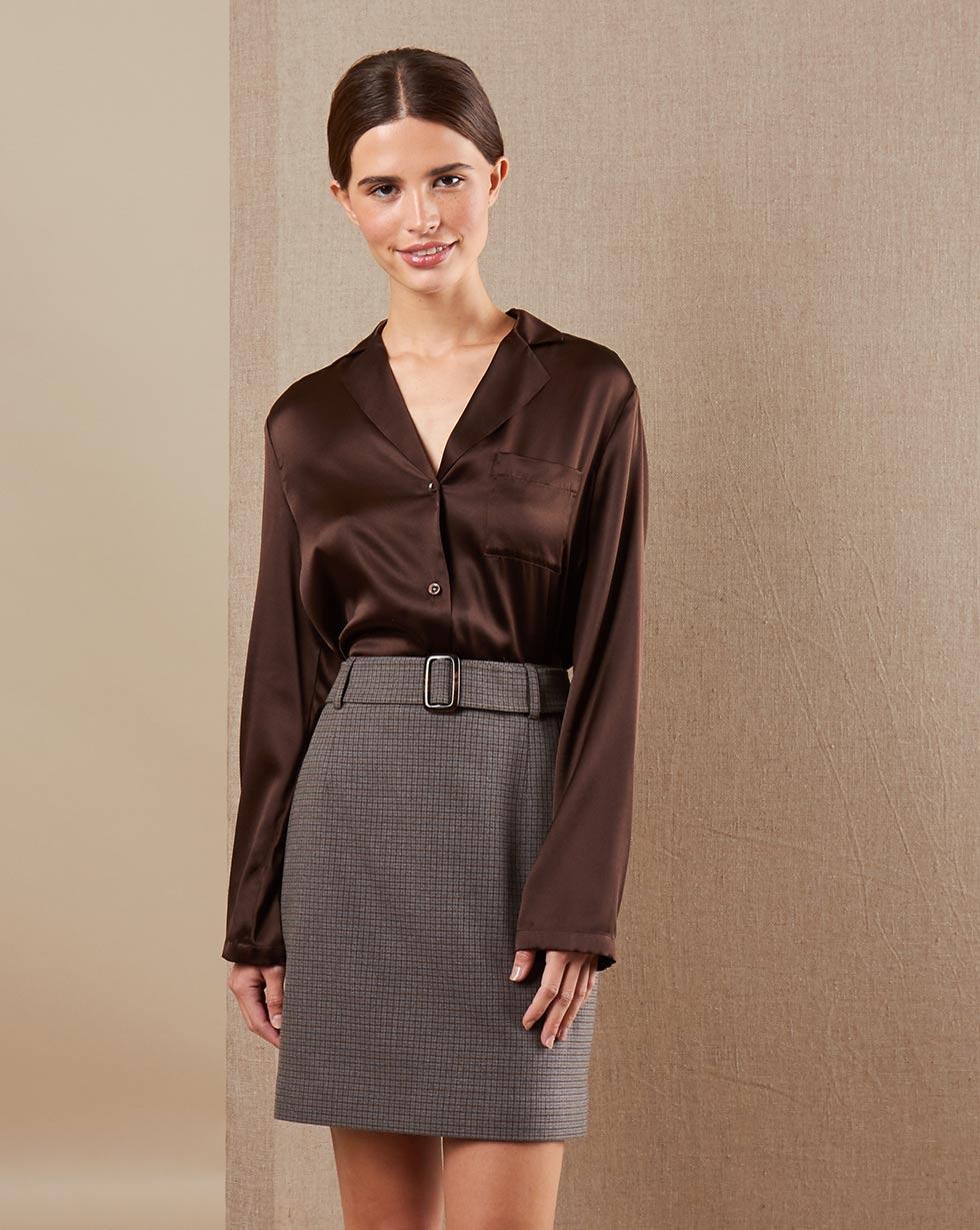12Storeez Блуза на пуговицах из шелка (тёмно-коричневый) 12storeez блуза удлиненная с круглым воротником коричневый