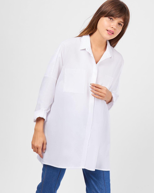 Рубашка с карманами однотонная One sizeРубашки<br><br><br>Артикул: 8282005<br>Размер: One size<br>Цвет: Белый<br>Новинка: НЕТ<br>Наименование en: Oversized pocket shirt