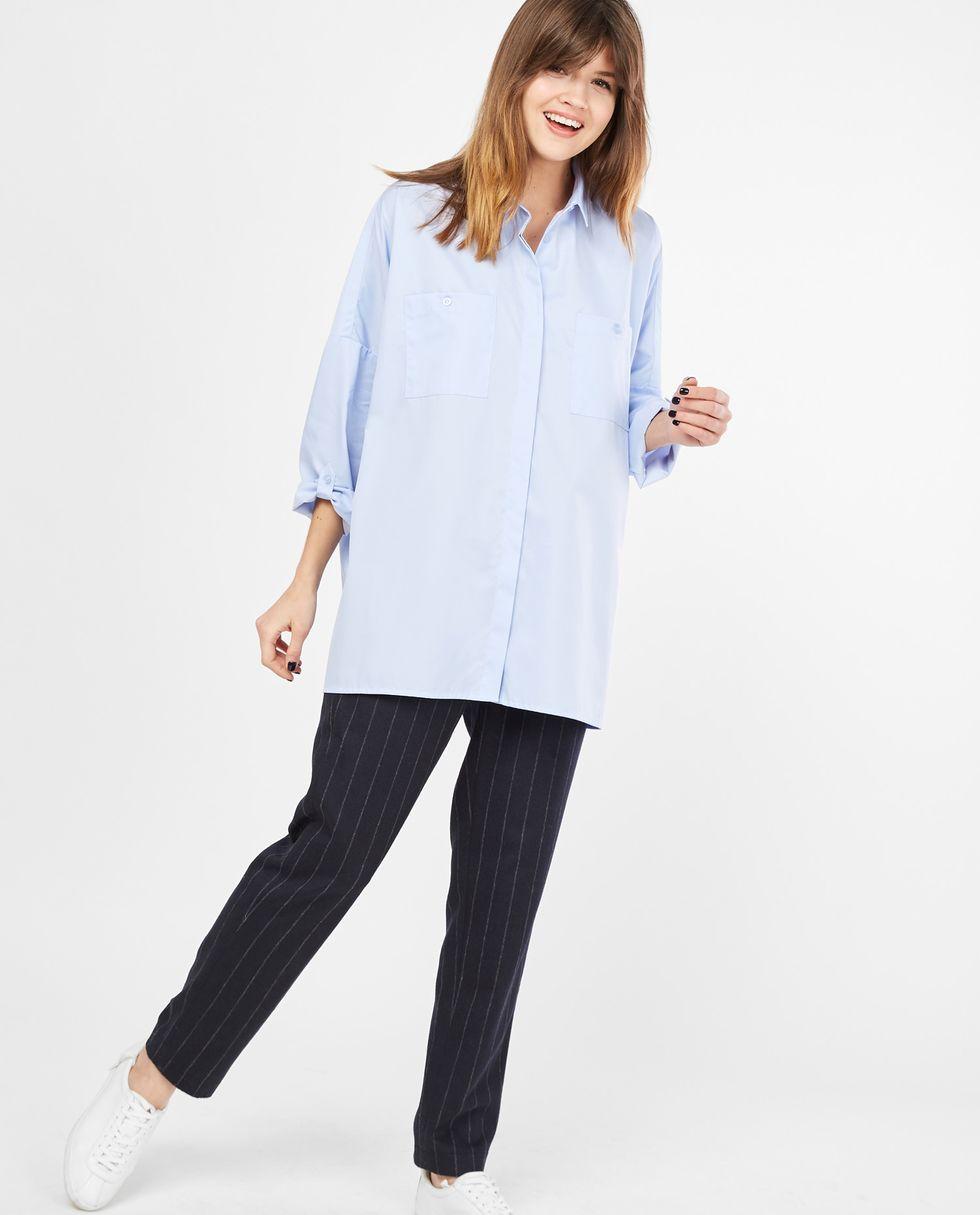 Рубашка с карманами One sizeРубашки<br><br><br>Артикул: 8282007<br>Размер: One size<br>Цвет: Голубой<br>Новинка: НЕТ<br>Наименование en: Oversized shirt with pockets
