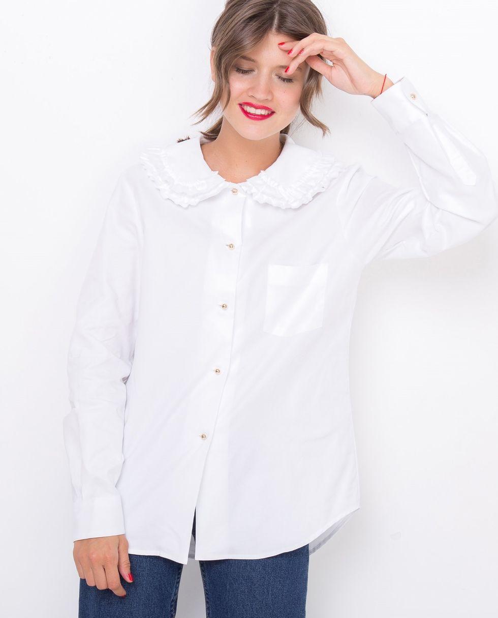 Рубашка с оборкой на воротнике MРубашки<br><br><br>Артикул: 8286476<br>Размер: M<br>Цвет: Белый<br>Новинка: НЕТ<br>Наименование en: Ruffle neck shirt