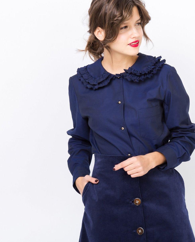 цена на 12Storeez Рубашка с оборкой на воротнике (синяя)