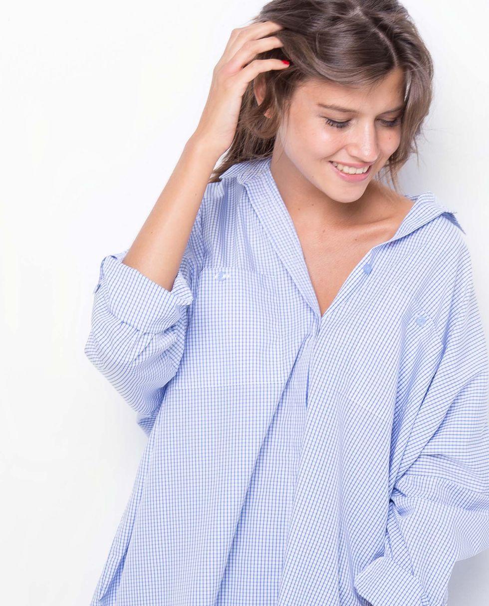 12Storeez Рубашка с карманами в мелкую клетку (бело-синяя) 12storeez рубашка с карманами в мелкую клетку белый