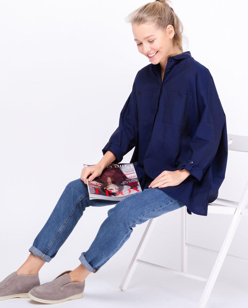 цена на 12Storeez Рубашка с карманами (темно-синяя)