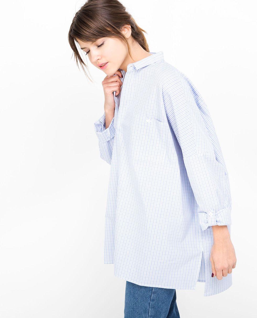 12Storeez Рубашка с карманами в клетку (бело-синяя) 12storeez рубашка с карманами в мелкую клетку белый