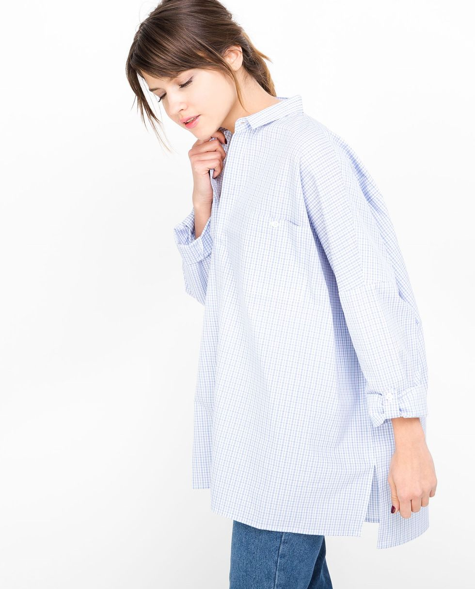 12Storeez Рубашка с карманами в клетку (бело-синяя) цены онлайн