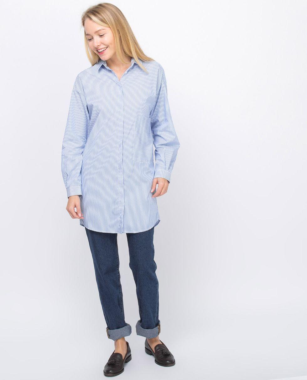 Рубашка удлиненная в мелкую полоску