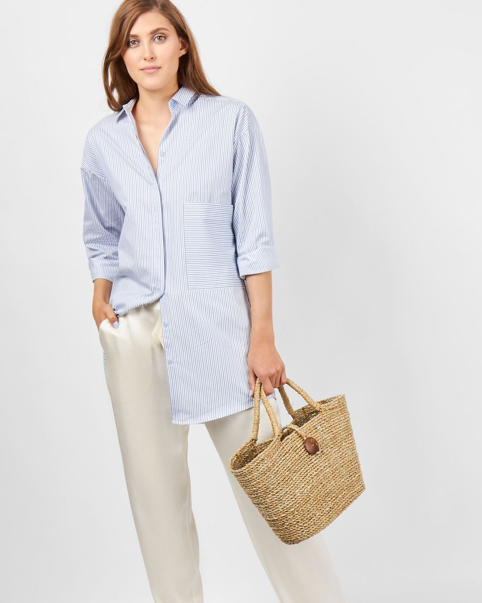 12Storeez Рубашка удлиненная в полоску (бело-синяя) цены онлайн