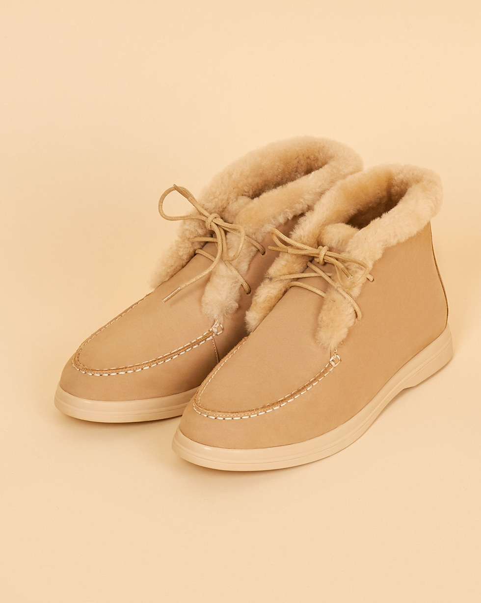 12Storeez Ботинки с мехом на шнурках (светло-бежевый) 12storeez ботинки с мехом песочные