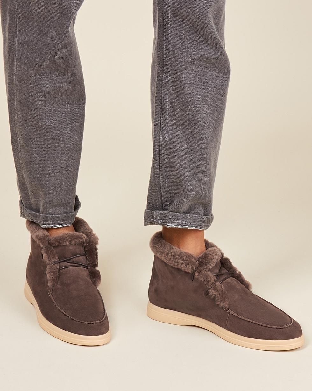 12Storeez Ботинки с мехом на шнурках (серо-коричневый) цены онлайн